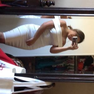 White tight dress   (off the shoulder)